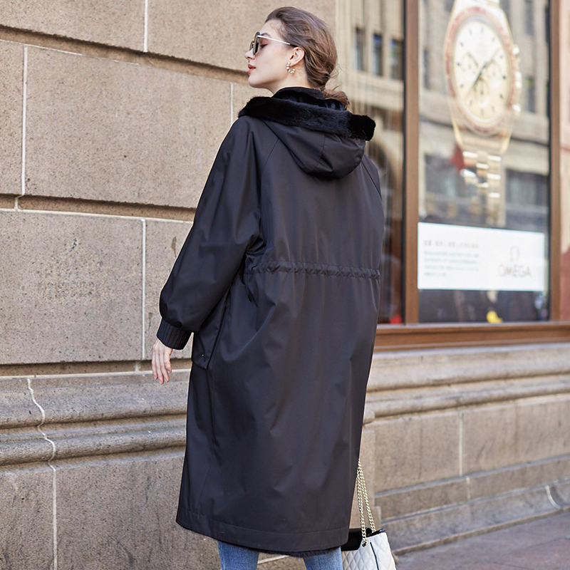 2020 Winter Parka Coat Women Natural Mink Jacket Long Luxury Real Fur Coats Plus Size Two Side Wear 19112 KJ3825