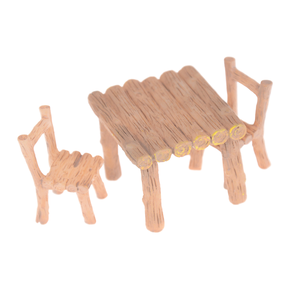 3/2Pcs/set Table And Chair Fairy Garden Miniatures Resin Wood Mini Flower Terrarium Figurines Home Doll House Decor Accessory