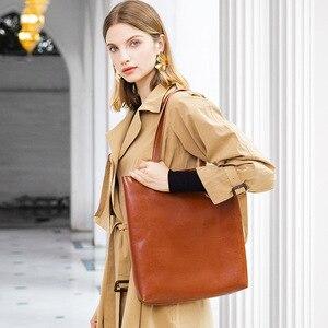 Image 2 - Zency 100% Genuine Leather Vintage Women Shoulder Bag High Quality Fashion Brown Large Capacity Shopping Bags Black Tote Handbag