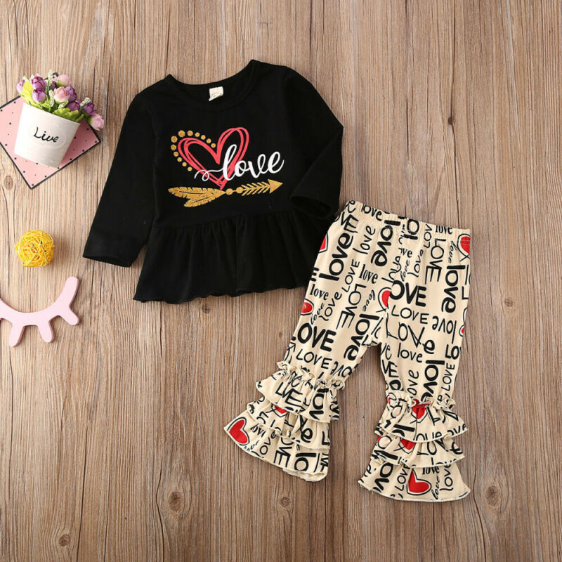 Floral Pants Outfit Clothes Valentine/'s Day Toddler Baby Kids Girls Dress Tops