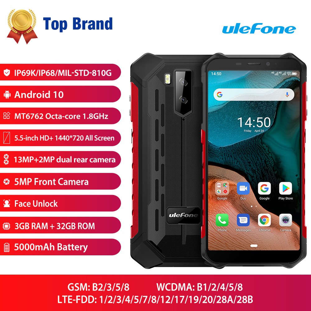 Ulefone Armor X5 IP68/IP69K Rugged Android 10.0 Shockproof Smartphone 5000mAh Octa Core 5.5'' OTG NFC 3GB 32GB 4G LTE Smartphone