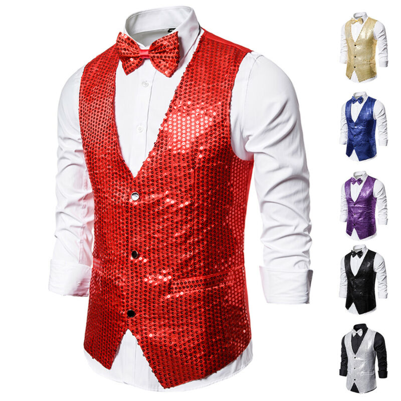Drop shipping Fashion Men Shiny Sequin Glitter Embellished Classy Nightclub Party Suits Vests Homme Stage For Singers Perfomers 1