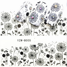 1 Pcs Fashion B005 Dandelion Nail Slider Black Russia Letter Sticker Summer Flamingo Decals Adhesive Manicure Nail Decorations(China)