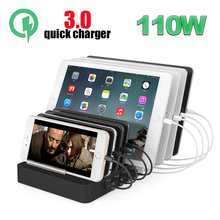 110W USB Charging Station Fast Charge, Multi Device Quick Charger Organizer 8-Port QC 3.0 Smart Identification Tech