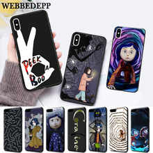 WEBBEDEPP Coraline movie Pattern Silicone soft Case for iPhone 5 SE 5S 6 6S Plus 7 8 11 Pro X XS Max XR