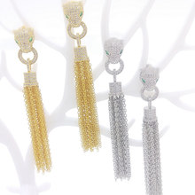 New copper white leopard print earrings female classic jewelry tassel earrings hot sale Valentine's day gifts wholesale(China)