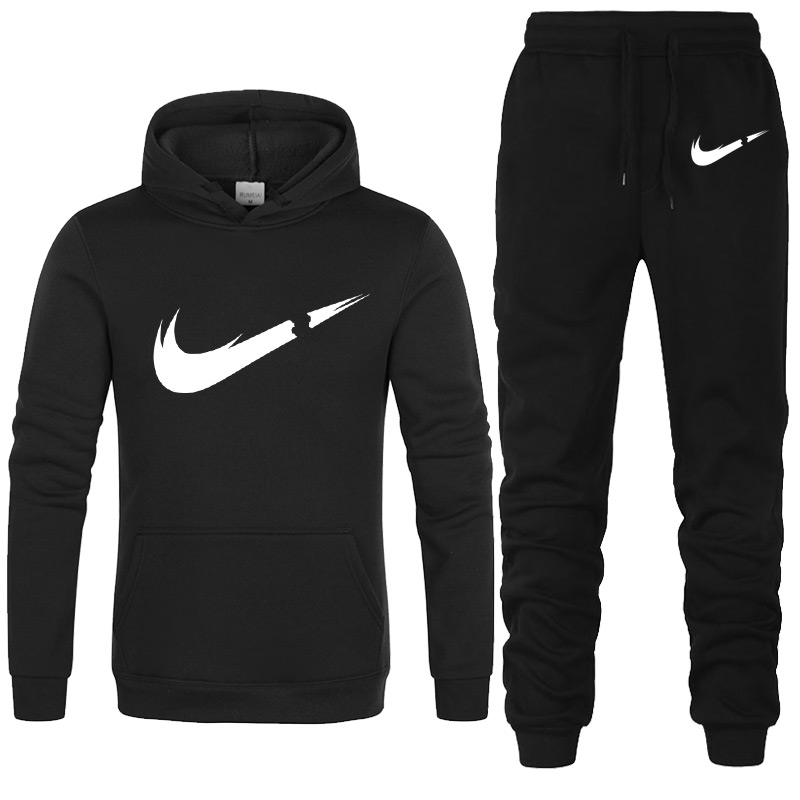Free Shipping 2019 New Brand Tracksuit Fashion Hoodies Men Sportswear Two Piece Sets Fleece Thick Hoody+Pants Sporting Suit Male