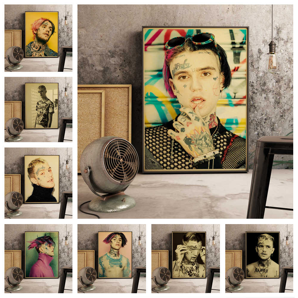 Americano hip hop rapper Lil Peep retro style home decor pittura poster di qualità di hight home Decor decorazione della Stanza immagine o870