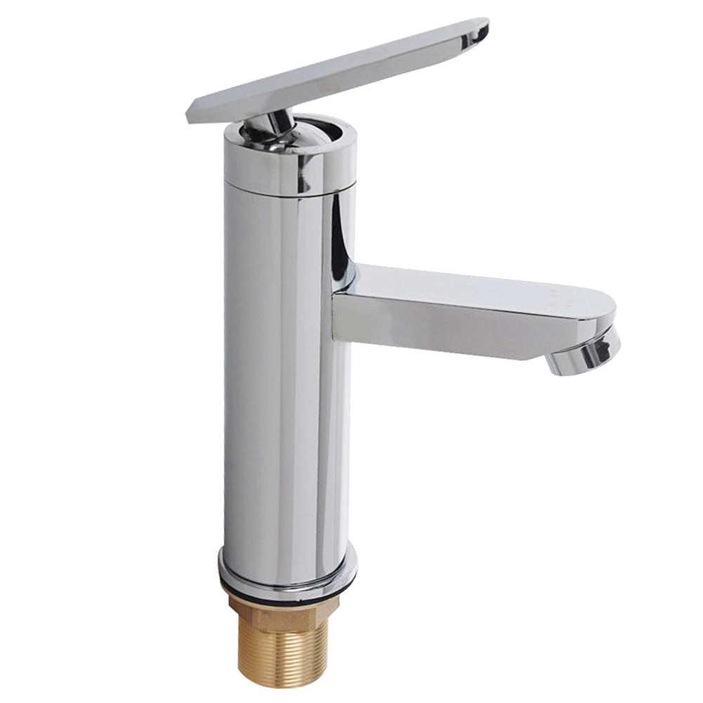 Satu Pegangan Cerat Kamar Mandi Nozzle Basin Faucet Rumah Modern Wastafel Panas Dingin Air Stainless Steel Dapur Dek Dipasang Mixer Keran