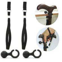 2 Set Easy Fit Walking Stick Wrist Strap and Cane Crutch Clip Holder Grip Aid