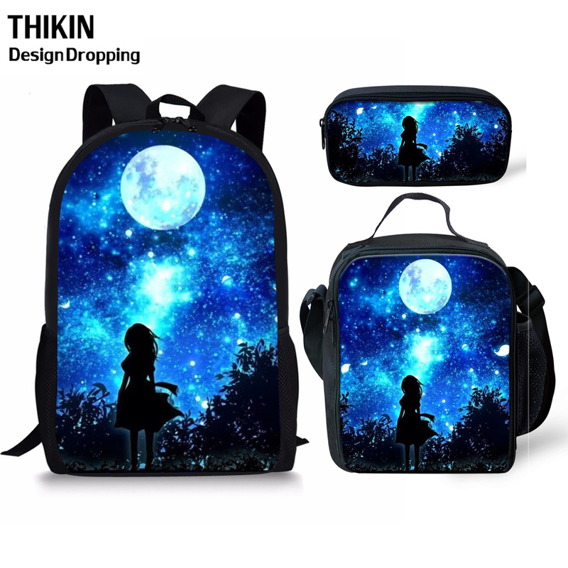 THIKN 3PCS School Bag Set Galaxy/Unicorn School Backpack For Teenagers Boys Girls Student Travel Book Bag Schoolbags For Gifts