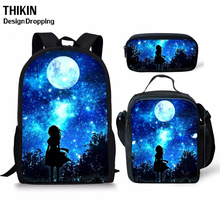 THIKN 3PCS School Bag Set Galaxy/Unicorn School Backpack for