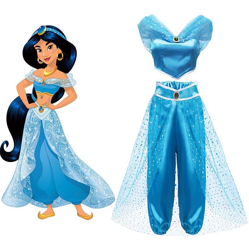 Halloween Children Dress Aladdin's Lamp Cosplay Costume Jasmine Princess Dress For Girl Role Play Costume Kids Party Fancy Dress
