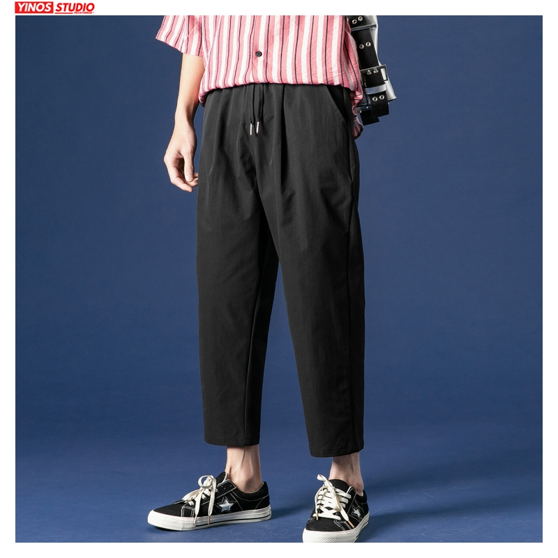 Dropshipping Solid Color Men Harem Pants Korean Man Casual Ankle Length Pants 2020 Male Summer Thin Trousers