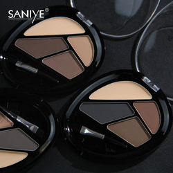 SANIYE 4 Colors Eyebrow Powder & Primer Set Waterproof Makeup Palette Shade for Eyebrow Enhancer Cosmetic Brush Mirror Box
