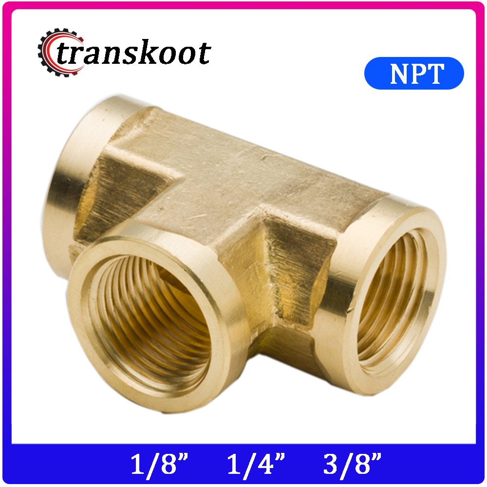 3720 2pcs 3 Way Connector Metal Brass Hose Pipe Fitting Forged Tee 1/8