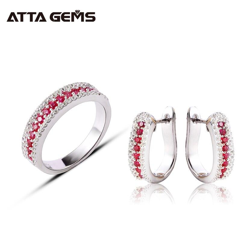 Ensemble de bijoux en argent Sterling rubis coupe ronde créé rubis femmes bijoux fins Style exquis femmes cadeau d'anniversaire bijoux de fête