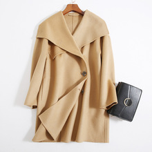 Shuchan Designer Women Wool Coat  2019 High QualityTurn-down Collar Solid Loose Coats and Jackets Single Breasted