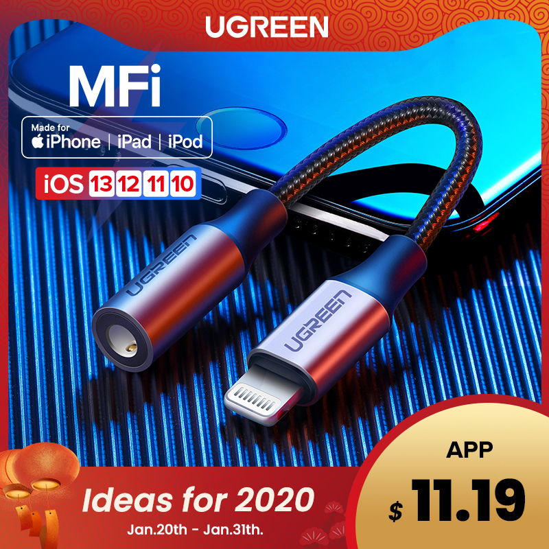Ugreen MFi Lightning to 3.5mm <font><b>Jack</b></font> AUX Cable for <font><b>iPhone</b></font> 11 Pro X XS XR 8 7 3.5mm Lightning 3.5 Headphones Audio <font><b>Adapter</b></font> Splitter image