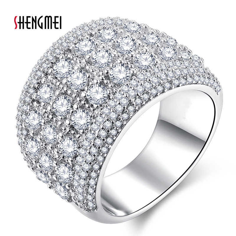 Shengmei Fashion Hot High Quality Alloy Women Ring Exaggerated Zircon Crystal Party Wedding Birthday Gift Lady Jewelry SP221
