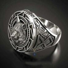 Винтажные Модные мужские кольца в стиле викингов с головой воина волка, ювелирные изделия в стиле панк, ретро мужское серебряное кольцо с во...