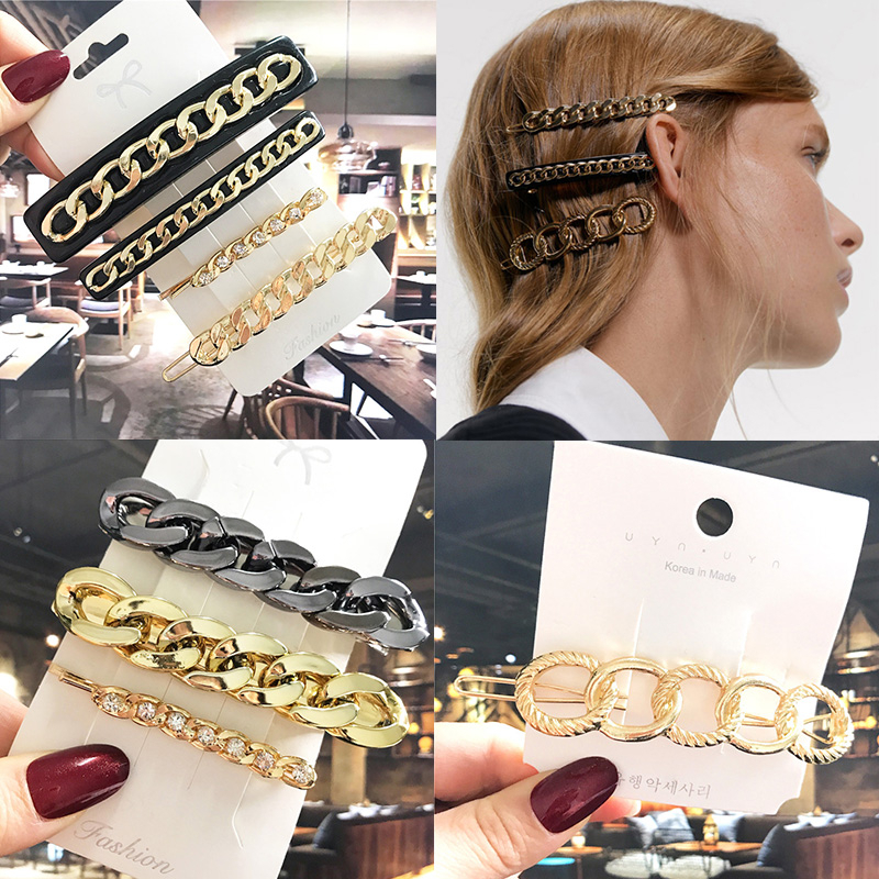 Punk Metal Barrette Women Vintage Acrylic Gold Chain Hair Clips For Girls Hair Accessories Simple Pins Headdress Gift 2020 New