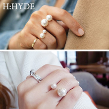 H:HYDE Fashion women's Ring Street Shoot Accessories Imitation Pearl Size Adjustable Ring Opening Women Jewelry New Arrivals