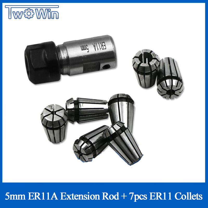 Free Shipping 7pcs High Carbon <font><b>Steel</b></font> ER11 Spring Collet 1/2/3/4/5/6/<font><b>7mm</b></font> and 5mm ER11A Extension <font><b>Rod</b></font> Motor Shaft Holder image