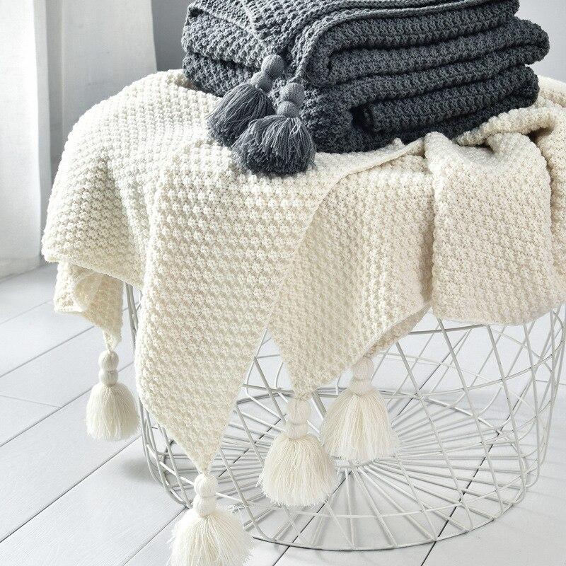 Gewinde Decke mit Quaste Solide Beige Grau Kaffee Decke für Bett Sofa Home Textil Mode Cape 130x170cm Gestrickte Teppich