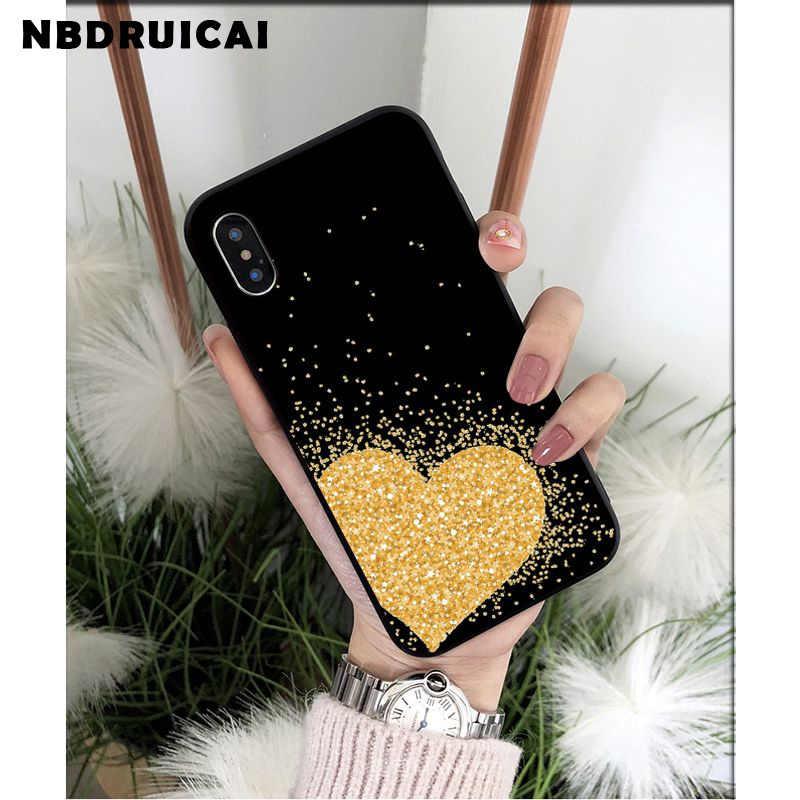 Nbdruicai capa de silicone para iphone, proteção em tpu macio com glitter dourado amarelo para iphone 11 pro xs max 8 7 6 capa 6s plus x 5 5S se xr