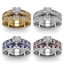 Fdlk Роскошные модные женские Четырехцветные кольца инкрустированные