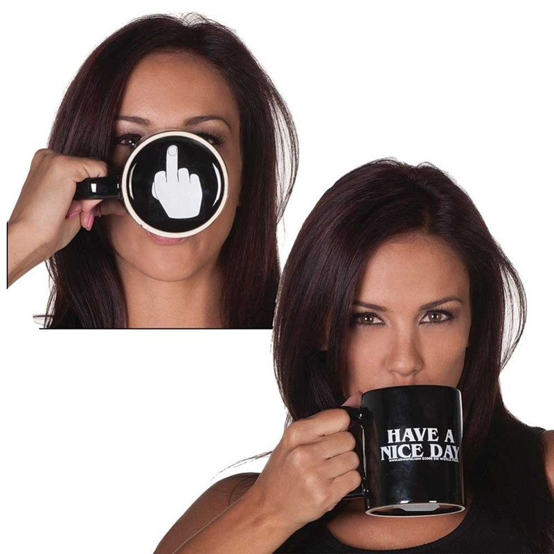300ml Funny Have a Nice Day Coffee Mug Cup With Middle Finger on the Bottom Ceramic Mug Black For Coffee Milk Tea Cups Gift