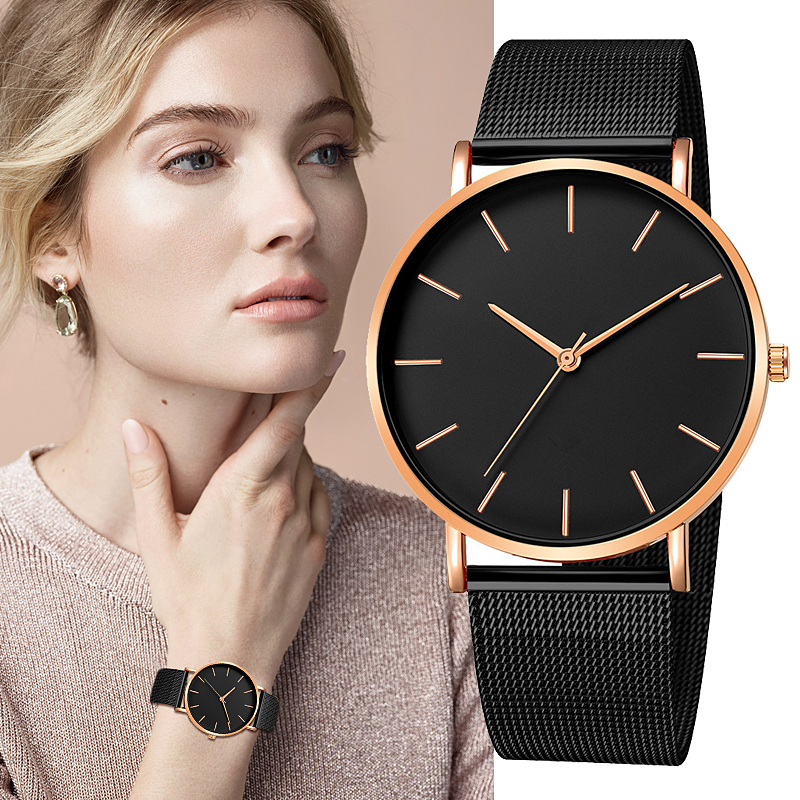 2020  Fashion Reloj Mujer Quartz Watch Simple Watch Ladies Mesh Stainless Steel Leisure Bracelet Metal Watch Hour Relogio