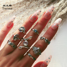 Tocona Vintage 8pcs/sets Snake Shiny Rhinestone Ring Sets for Women Leaf Hand Geometric Party Bohemian Jewelry anillo 15377