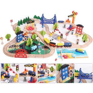 12-108 шт. деревянный Паровозик игрушка для трека Волшебная трековая станция аксессуары для моста железнодорожная модель развивающие 3D игруш...