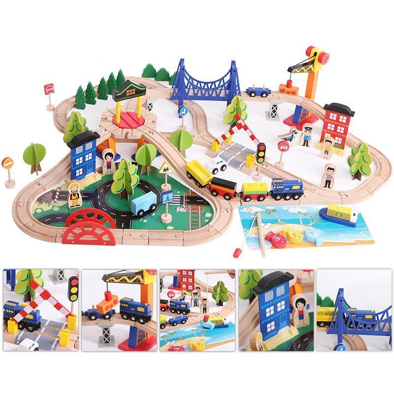 12-108PCS Wooden Trains Track Toy Magical Track Station Bridge Accessories Railway Model Educational 3D Pulzze Toys For Children