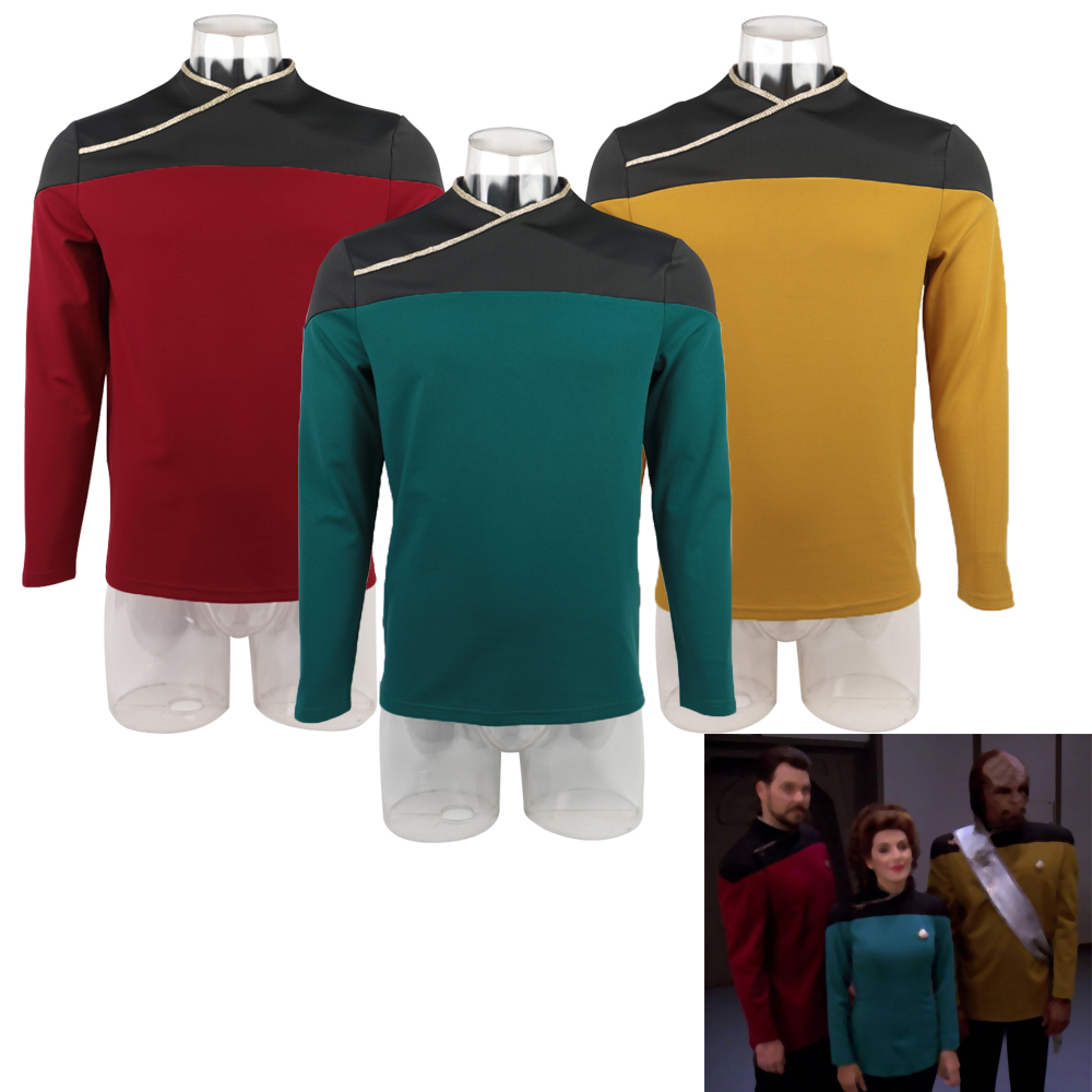 Star TNG Captain Picard Trek Red Uniform Top Jacket Voyager DS9 Yellow Cosplay Costumes Halloween Party Prop(China)