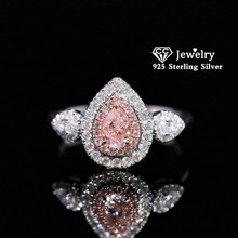 Trendy Rings Cubic-Zirconia-Ring Fine-Jewelry Promise Water-Drop Wedding 925-Silver Pink