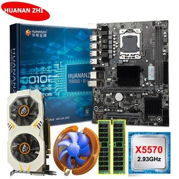 HUANANZHI X58 LGA1366 motherboard with video card GTX750Ti 2G Xeon CPU X5570 2.93GHz RAM 8G(2*4G) RECC motherboard combos DIY long card motherboard nupro 965