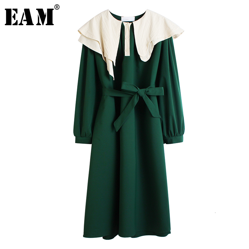 [EAM] Women Contrast Color Ruffles Split Joint Big Size Midi Dress New Long Sleeve Loose Fit Fashion Early Spring 2020 1M860