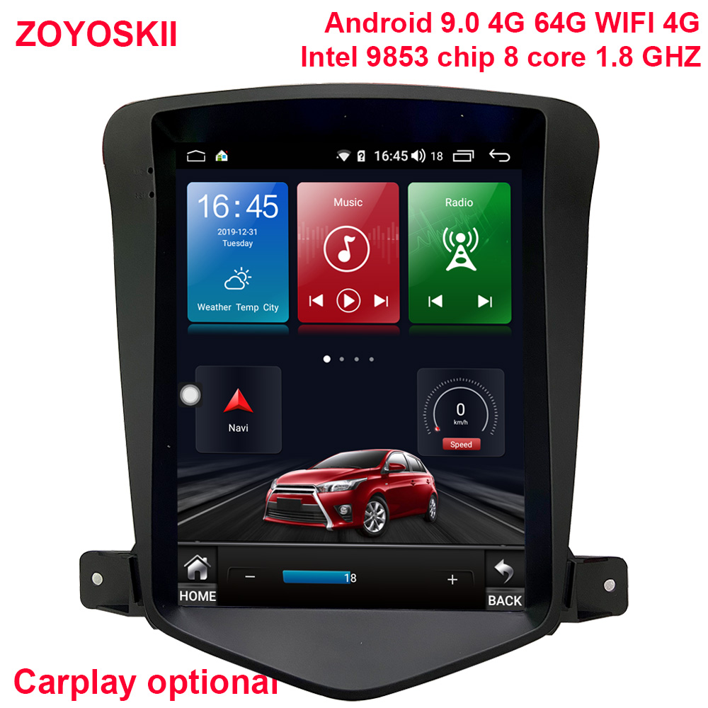 ZOYOSKII Android 9.0 10 Inch IPS Vetical HD Screen Car Gps Multimedia Radio Player For Chevrolet Cruze Daewoo Lacett 2009-2015