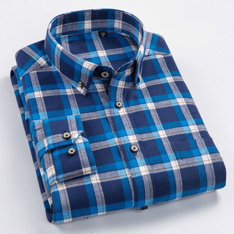 Plaid Shirt Pure Cotton Men Long Sleeve New Listing Business Mens Shirts Casual Slim Fit  Dress