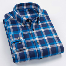 Plaid Shirt Pure Cotton Men Long Sleeve New Listing Business Mens Shirts Casual Slim Fit  Dress