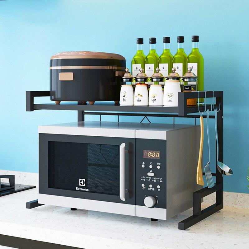 Accueil micro-ondes four étagère cuisine étagère organisateur en acier inoxydable cuisine étagère de rangement sur le four étagère cuisine outil organisateur