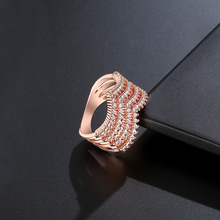 NJ Rose Gold Color Multi-layer Hollow Rings For Women Triangle Shaped High Quality Chic Crystal Silver Ladies Ring Jewelry