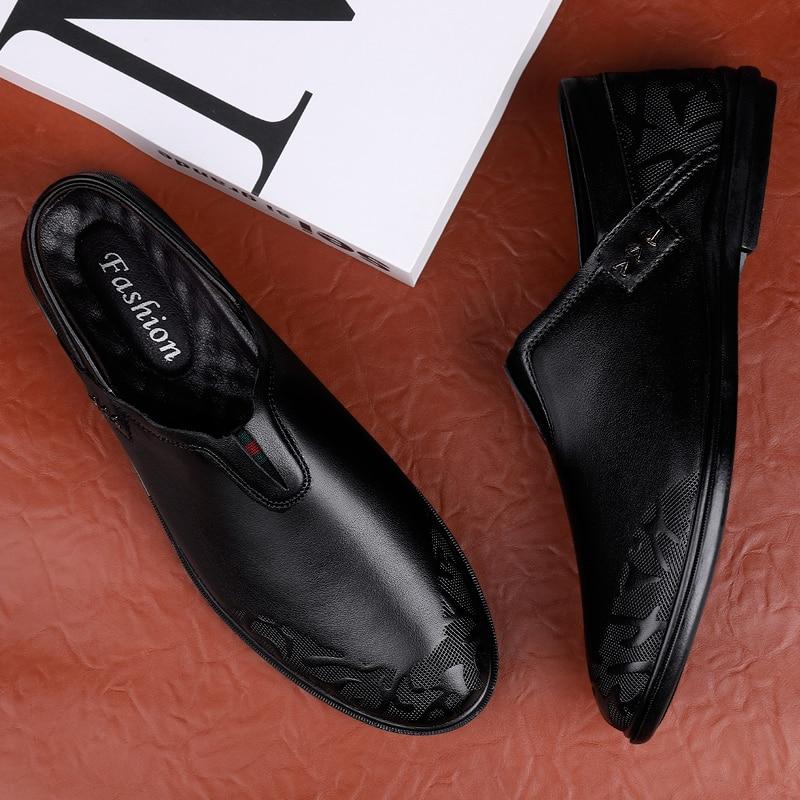 sapatos de couro genuíno não deslizamento de