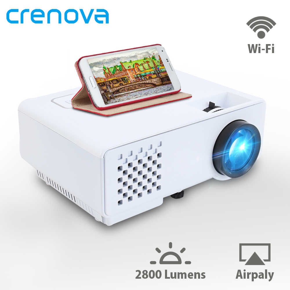 Crenova Mini Proyektor 2800 Lumens untuk Full HD 1080 P Nirkabel Sync Display untuk Ponsel LED Portable Home Theater Video Proyektor
