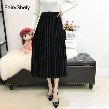 FairyShely 2020 Vintage Velvet Pleated Long Skirt Women High Waist Midi Skirt Korean Black Elastic Band Belt Maxi Skirts Womens 2
