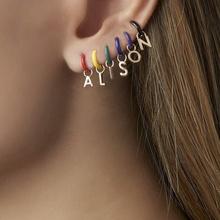 Nowy projekt biżuteria kreatywne niestandardowe kolczyki kobiety moda prosty spadek oleju miedzi numer 26 liter stadniny kolczyki tanie tanio Pri jin Ze stopu cynku CN (pochodzenie) SP-EH141 Nieregularne TRENDY