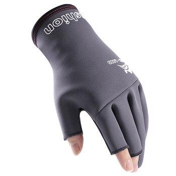 Guantes de pesca de tres dedos para hombre, protectores antideslizantes para deportes,...